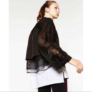 Zara Sport Black Contrast Mesh Black Zip Up Jacket